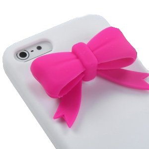 niceeshop(TM) Hot Pink Bow,Tie White Silicone Soft Cover Case for iPhone 5 5S + Screen Protector