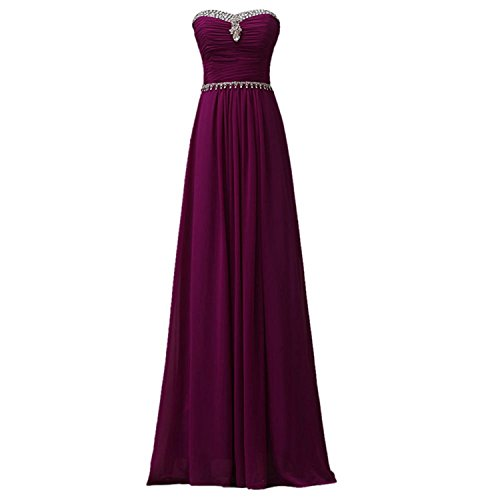 Tobyak Women's Plus Size Bridal Gown Handmade Gemstone Strapless Long Dress Purple12 Fashion style (50s Dress Up Ideas)