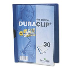 * Vinyl DuraClip Report Cover, Letter, Holds 30 Pages, Clear/Dark Blue