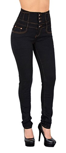 by-tex Womens Jeans Skinny High Waisted Jeans for Ladies Pants for Girls Jeggings - J22 J22-black