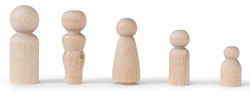 Koalabu Natural Unfinished Wooden Peg Doll Bodies - Quality People Shapes - Great for Arts and Crafts - Birch and Maple Wood Turnings - Artist Set of 40 in 5 Different Shapes and Sizes