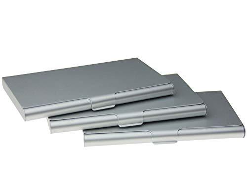 (Business Card Holder Aluminum Business Name Card Credit Card Case Sliver Pack of 3(Sliver))