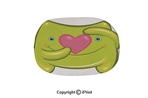 (Customized Modern Non Slip Pure Color Oval Bathroom Bath Shower Bedroom Mat,Cute Green Baby Monster with Heart in)