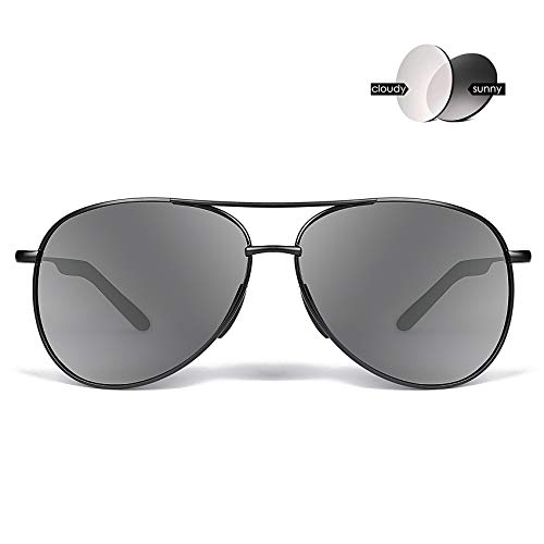 Polarized Photochromic Aviator Sunglasses for Men - goudi Metal Frame driving UV 400 Protection Mens Women Mirror Sunglasses ()