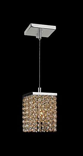 (Worldwide Lighting Prism Collection 1 Light Chrome Finish and Amber Crystal Square Mini Pendant 5