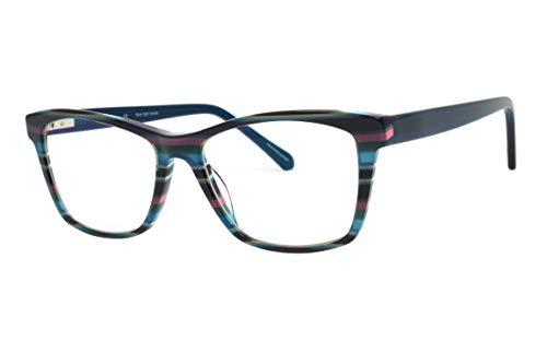 Multi Eye Protection (Verona Love Acetate Blue Light Blocking Glasses Multi Stripe Colored Computer Anti-Glare Protection Eyeglasses Teal Color)