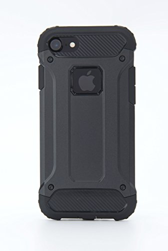Case For iPhone 7/ iPhone 8 with Hard PC And Soft TPC Diamond Armored Shielded Shockproof Mobile Phone Protection Shell (Black)