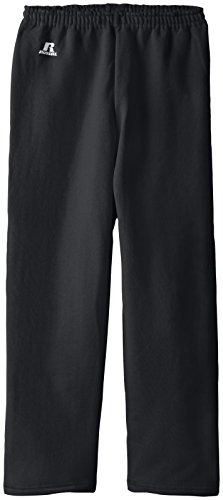 Russell Athletic Big Boys' Fleece Open Bottom Pant, Black, Medium