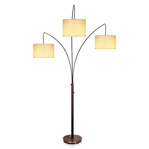 Brightech Trilage LED Floor Lamp – Tall Pole Modern Industrial Standing 3 Arm Arc, 3 Light, 3 Head Floor Lamp with Traditional Lamp Shade - for Living Room, Office, Bedroom- Oil Brushed Bronze by Brightech
