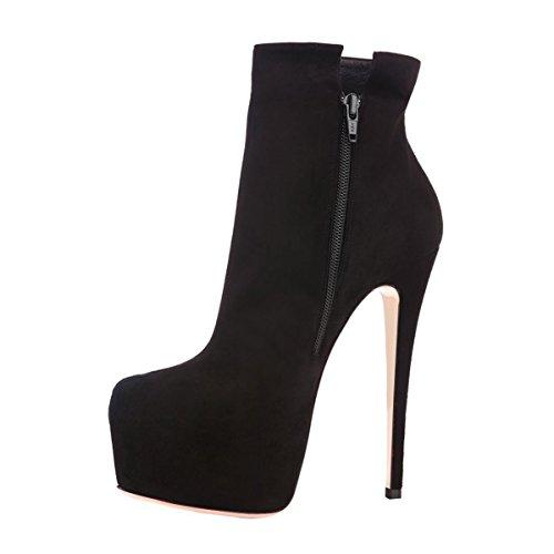 Pumps Women Stiletto Side Zipper Heel Black Party Boots Platform Booties UMEXI High Ankle pgxPHUq