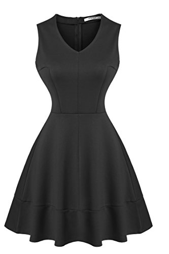 Meaneor Women's Sleeveless Retro Pleated Fit Flare Cocktail Dress,Large,Black (Rayon Slim Day Dress)