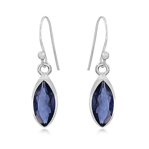 Color Gemstone Silver Earrings for Women, Drop Earrings, Marquise Blue Iolite Earrings, Dangle Earrings