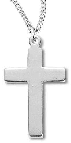 High Polish Cross Necklace (Women's Sterling Silver Plain High Polish Cross Necklace + 20 Inch Rhodium Plate Chain & Clasp)