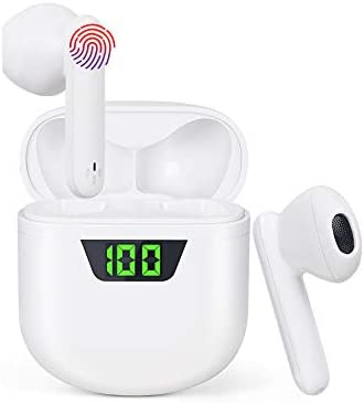 Wireless Earbuds Bluetooth 5.2 Earphones with Charging case, IPX7 Waterproof Sports Earphones with LED Noise Reduction Microphone, Touch Control for Apple Airpods/iPhone/Android (White)