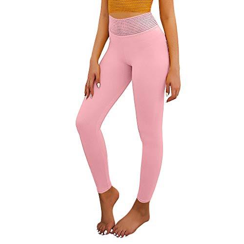 High Waist Yoga Pants Yoga Pants with Pockets Tummy Control 4 Ways Stretch Workout Running Yoga Leggings Pink