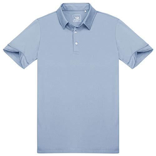 EAGEGOF Men's Shirts Short Sleeve Tech Performance Golf Polo Dri-Fit Shirt Standard Fit