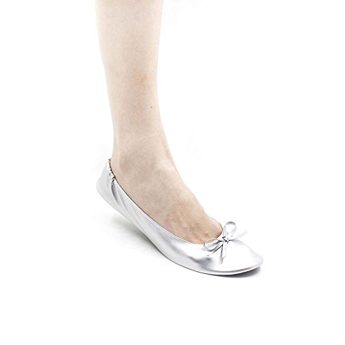 MR.SWEETIE Womens Wedding Gift Foldable Portable Flexable Outsole Roll up Ballet Flat Shoes (Medium, Silver) by MR.SWEETIE