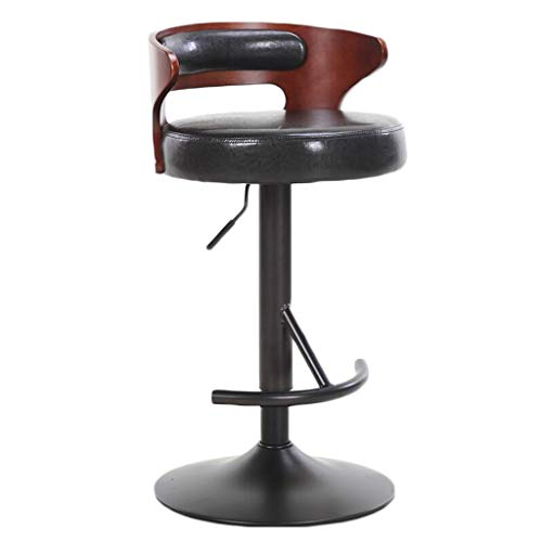 - Rotating Bar Stool, Modern Minimalist Height Adjustable Bar Chair Home Bar Chair Metal Bracket Soft Bag Cushion with Backrest (Color : Teak Brown)