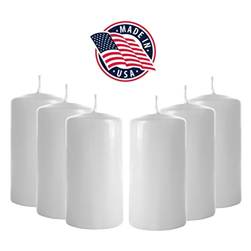 3x6 Pillar Candles (Set of 6) Unscented Pillar Candle Bulk - Tall Pillar Candles for Weddings, Parties, Restaurants, Spa, Bath, Massage Therapy, Religious Ceremonies and Holidays (White)