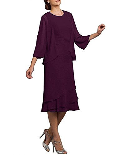 Neggcy Women's Tea Length Party Dress Chiffon Mother Of The Bride Dress With Jacket Plum US2 (Tea Satin Length Square)