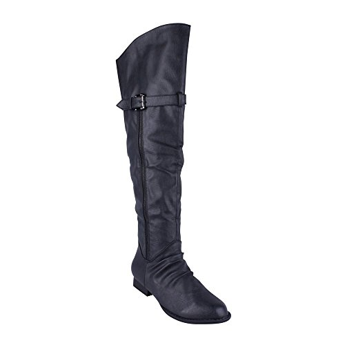 ANNA WESTY-2 Womens Over Knee Boots, Color:BLACK, Size:7