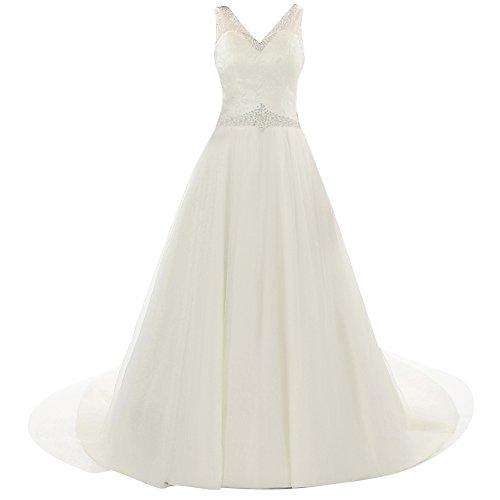 Jaeden Tulle Robe De Mariée En Dentelle Col V Robe De Mariée Avec Des Perles Blanc