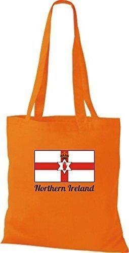 ShirtInStyle Bolso de tela Bolsa de algodón Yute de país Northern Irlanda Irlanda del norte - fucsia, 38 cm x 42 cm Naranja