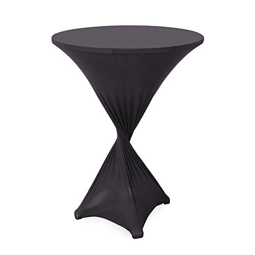 - LungMongKol Shop Black Spandex Table Cover Cloth Lycra Stretch Polyester Fibre Cocktail Highboy Round High Top Tall Tables Pub Bar Bistro Cocktail Tablecloth Highboy Wedding Supply 32 x 39 inch