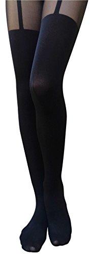 (AM Landen Cute Women's Tight S-M size Japanese Black Two Tone Garter Tatoo Printed Pantyhose)