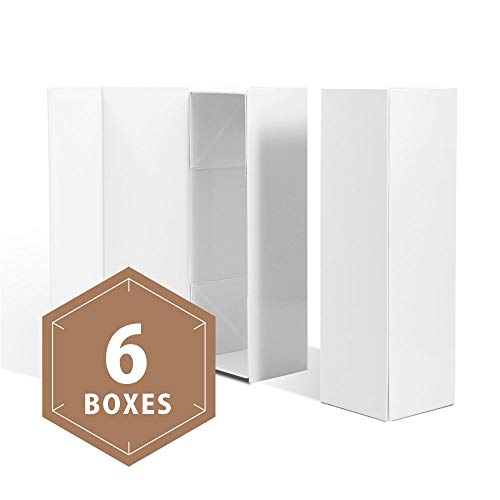 PACKHOME Wine Gift Boxes 13.5x4.5x4 Inches, Bottle Gift Boxes for Liquor and Champagne, Magnetic Closure Collapsible Gift Boxes (6 Boxes/Glossy White)