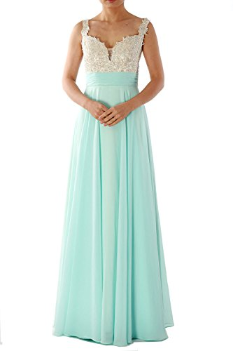 Prom 2018 Formal Dress Straps Gorgeous Gown Long Teal Chiffon Lace Evening MACloth UxnpBwTqan