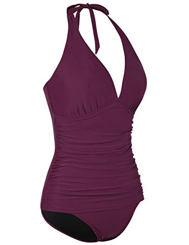 d5bd1ddb9d Hilor Women's Halter One Piece Swimsuits Shirred Tummy Control Swimwear  Skirted Bathing Suits Monokinis Burgundy 16
