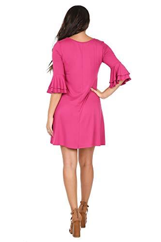 Fit Tunic Dress Womens Loose Sleeve Ruffle Magenta USA P1038 iliad wCgqSpP