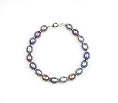 HinsonGayle AAA Handpicked 8-8.5mm Black Oval Freshwater Cultured Pearl Bracelet (Sterling Silver)-7.5 in length