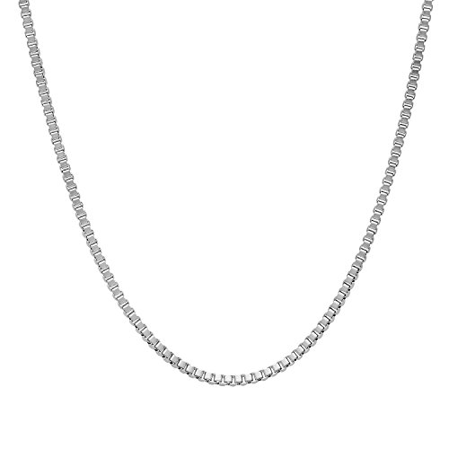 The Bling Factory Small 1.5mm Stainless Steel Box Link Venetian Chain Necklace, 30