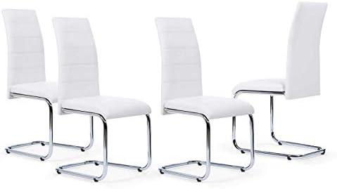 IDMarket Lot de 4 chaises Mia Blanches pour Salle à Manger