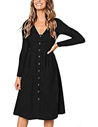 Women's Dresses-Short Sleeve V Neck Button T Shirt Midi...