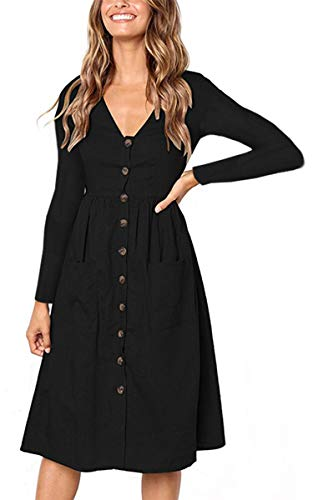 39e97b3575 Angashion Women s Dresses-Short Sleeve V Neck Button T Shirt Midi Skater  Dress Pockets