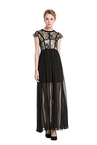 encaje fiesta Prom UK de de elegante Ball empalme de redondo de Mujeres mangas noche gasa vestido Mena poliéster sin Negro Gown de cuello AtqxvTST