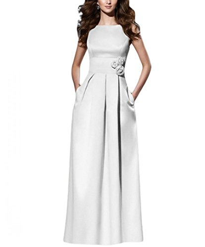 Beilite Women's Satin A Line Bridesmaid Dress Long Party Dress White 10 ()
