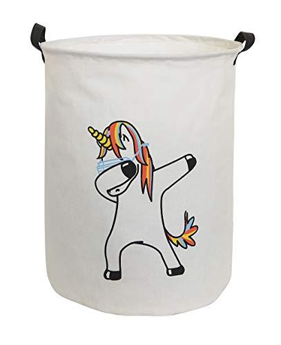 CLOCOR Collapsible Round Storage Bin/Large Storage Basket/Clothes Laundry Hamper/Toy Books Holder (Unicorn)