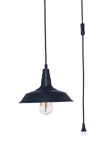 Ivalue Hanging Light with Plug in Cord Industrial Pendant Light Fixture Warehouse Kitchen Black Pendant Lamp E26 Base Type Bulb Not Included (D-Black-Plug in)