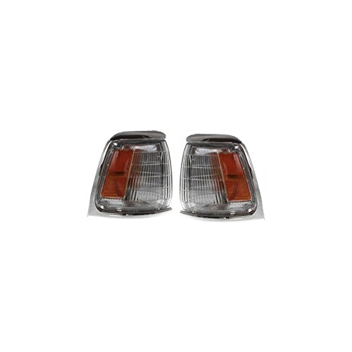 Corner Light Set of 2 Compatible with 89-91 Toyota Pickup Right and Left Side Assembly w/Chrome Trim 2WD
