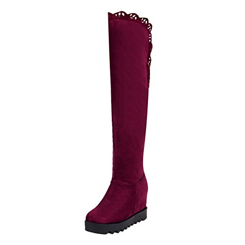 Toe Odomolor On Solid Suede Round Closed Women's Heels Claret High Imitated Pull Boots 8qwSBxg81