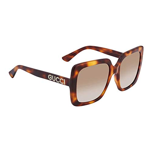 Gucci GG0418S Havana/Crystal/Brown Gradient One Size
