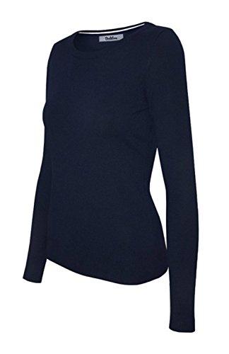 Silk Stretch Mock Neck Sweater - 2LUV Women's Silk Blend Stretch Knit Crew Neck Navy S
