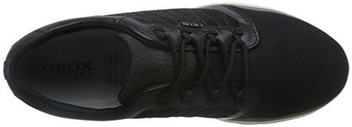 Geox U Damian A Sneakers / Chaussures En Cuir Pour Homme Noir