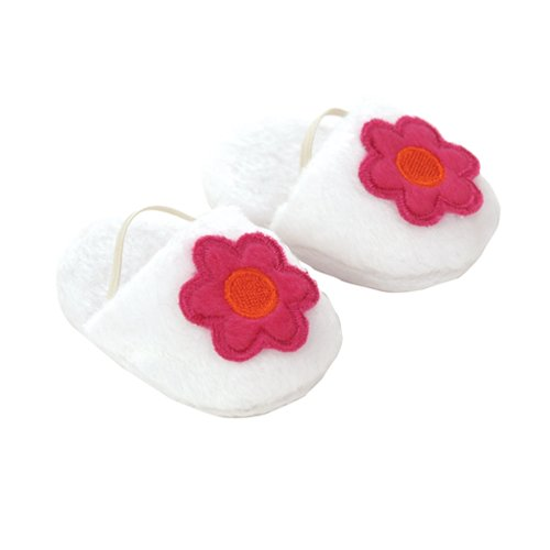 Doll Slippers - 18 Inch Doll Slippers. White Slippers with Fuchsia Flower, Bedtime Doll Accessory