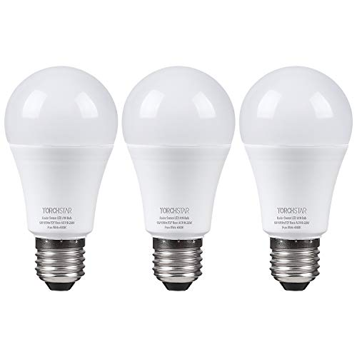 TORCHSTAR Motion Activated A19 LED Bulb, 9W (100W Eqv.), Dusk-to-Dawn Bulb with Photocell, Radar Motion Detector, 6000K Pure White, E27 Base, for Stairways, Closets, Entry Halls, Pack of 3