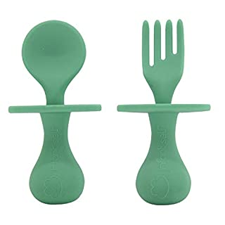 Infant Self Baby Spoon Fork Silicone Self Feeding Utensil Set Baby First Training Weaning for 6+ Month Baby Toddler BPA Free (Midnight Green)